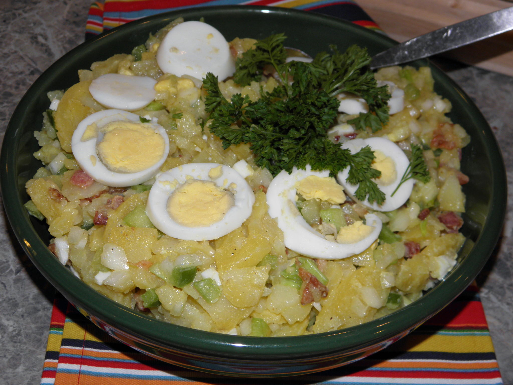 Traditional German potato salad (served warm). Electronic image by Ron ...