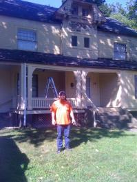 New homeowner Paul Gibbs on the job in late fall.