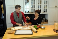 Mitch Lynch and Helga Wengler in the kitchen