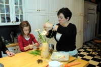 Maddie and Charlotte work on an edible arrangement