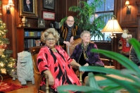Sophia Brooks, Jack Carlton and Paula Jasper in the library of the mansion.
