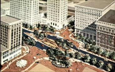 Rendering for Federal Plaza, downtown Youngstown (1970s)