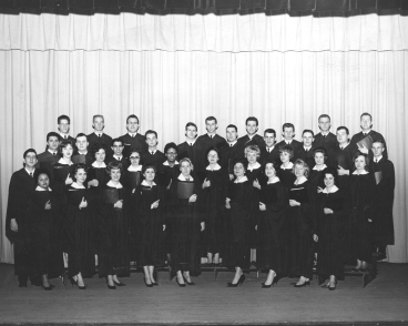 "Sophia Brooks (first row, left) poses with the choir at Youngstown's First Presbyterian Church in 1963. Brooks hosted the public affairs program, ""Expressions,"" on Channel 27 and is currently the host of ""Expressions"" on ""Homeplate."" Visit metromonthly.net for previous segments by Brooks, including profiles of Oh Wow!, Stambaugh Auditorium, Teddy Pantelas and more."