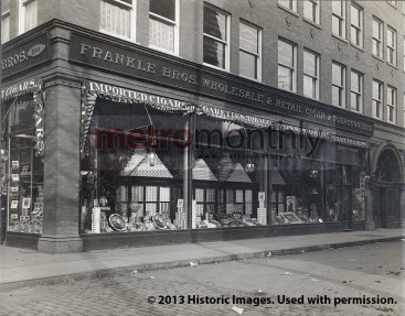 The Frankle Bros. tobacco shop on the northwest corner of North Phelps and West Federal in downtown Youngstown in an undated photograph. Image courtesy of Historic Images. Used with permission.
