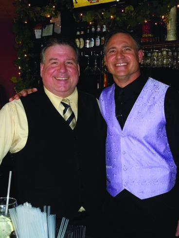 Mitchell Capps and Randy Anzevino at the newly opened Vincent's Vine Bar. Electronic image by John Webster.