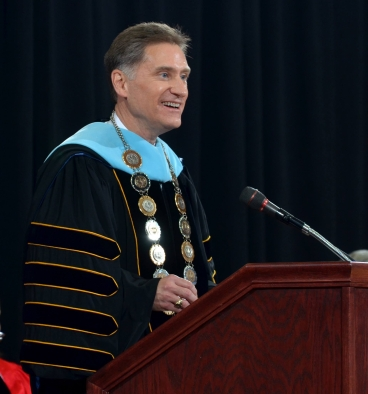 Randy J. Dunn was formally installed as the eighth president of Youngstown State University during a ceremony Friday afternoon in Beeghly Center on the YSU campus. Electronic image courtesy of YSU.