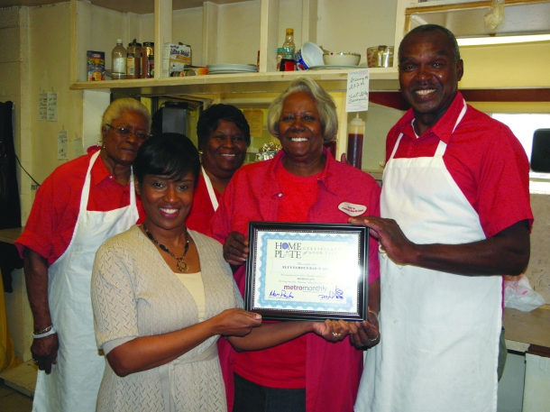 Homeplate host Stephanie Shaw presents a 'Certificate of Good Taste' to Eli's Famous Bar-B-Que.  The popular Trumbull County restaurant is owned by Thelma Holman, center. A video profile appears below,
